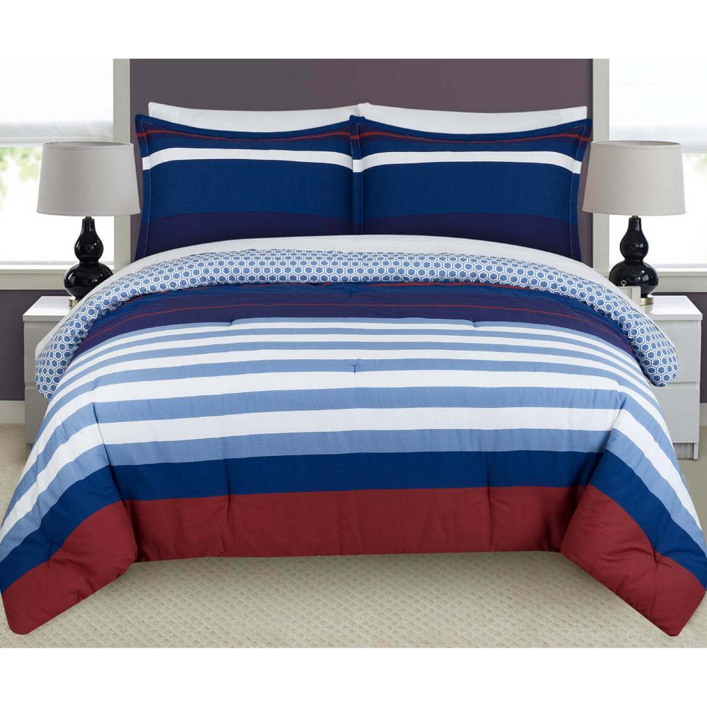 Nouvelle Home Nautical Stripes And Plaids Full And Queen Comforter Set