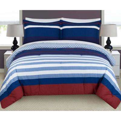 Nautical Stripe Stripes and Plaids King Duvet Set