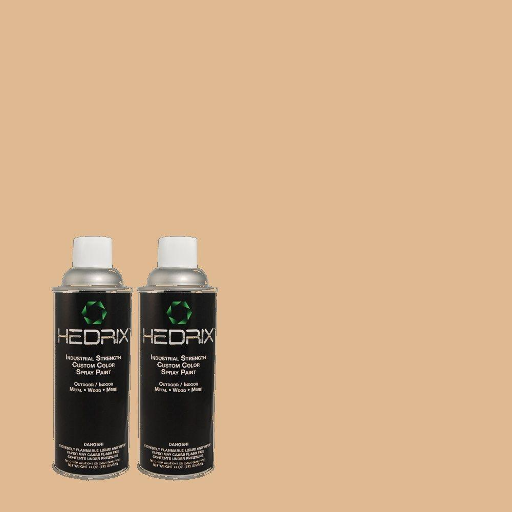 Hedrix 11 oz. Match of ECC-40-1 Canewood Semi-Gloss Custom Spray Paint (2-Pack)