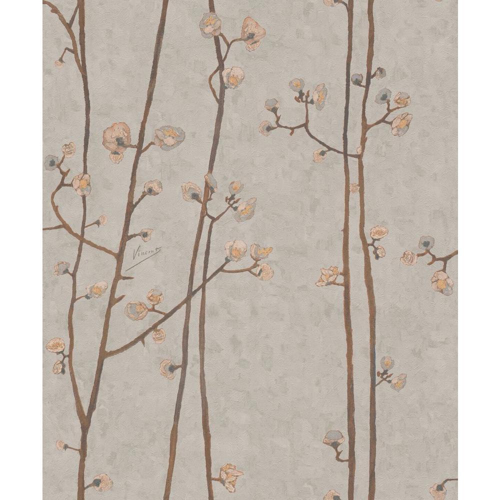Sandy White Plum Branches Wallpaper