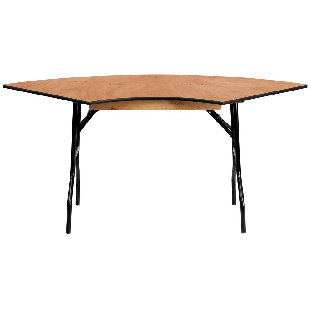 48 In Natural Wood Tabletop Metal Frame Folding Table