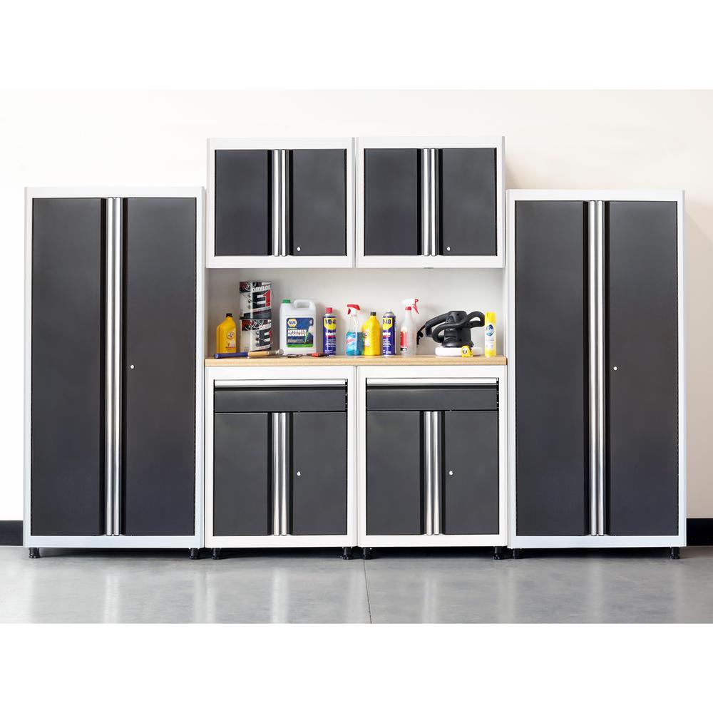 75 in. H x 132 in. W x 18 in. D Welded Steel Garage Cabinet Set in White/Charcoal (7-Piece)