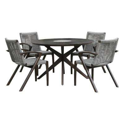 Oasis and Brielle Earth 5-Piece Eucalyptus Wood Outdoor Patio Dining Set