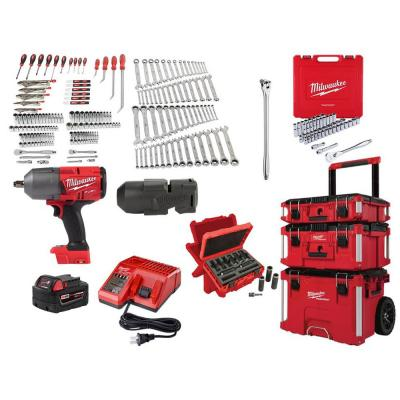 Mechanics Tool Set (248-Piece) with M18 Impact Wrench Kit & PACKOUT Set (3-Piece)