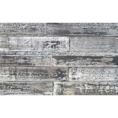Thermo-treated 1/4 in. x 5 in. x 4 ft. White/Black Barn Wood Wall Planks (10 sq. ft. per 6 Pack)