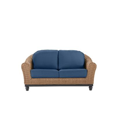 Camden Light Brown Seagrass Wicker Outdoor Patio Loveseat with CushionGuard Sky Blue Cushions