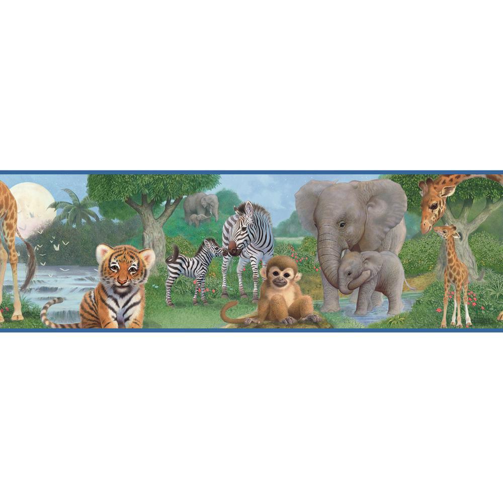 Chesapeake Afrique Blue Jungle Bedtime Portrait Wallpaper Border Sample BBC46372BSAM