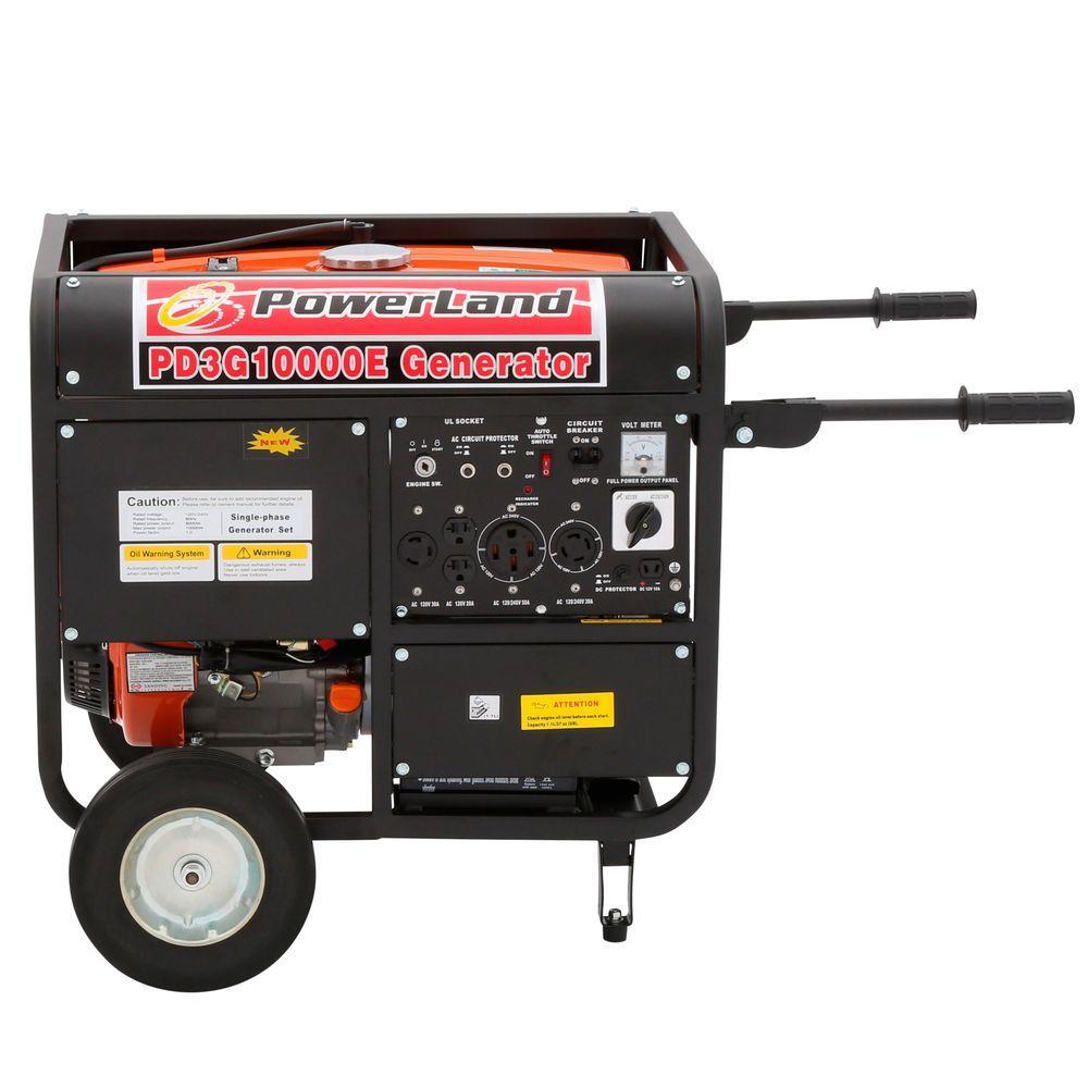 POWERLAND PD3G10000E 10000 Watt Tri-Fuel Portable Generator with Electric Start