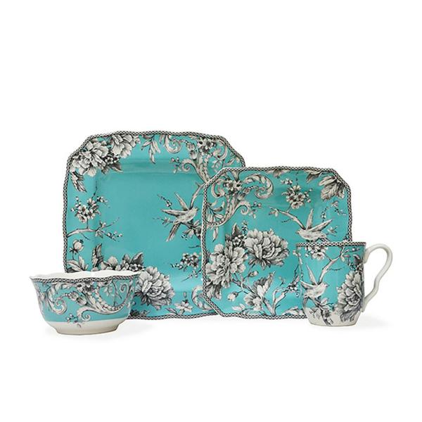 Adelaide 16-Piece Casual Turquoise Porcelain Dinnerware Set (Service for 4)