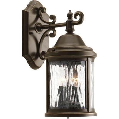 Ashmore Collection 2-Light 14.8 in. Outdoor Antique Bronze Wall Lantern Sconce