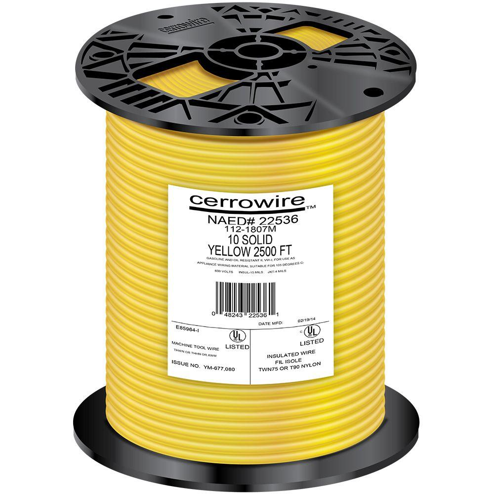 Cerrowire 2500 ft. 10-Gauge Yellow Solid THHN Wire-112-1807M - The ...