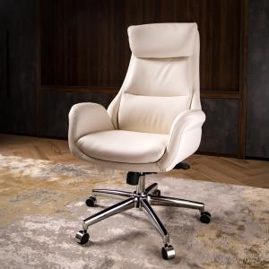 Swell Glitzhome Mid Century Modern Cream Bonded Leather Gaslift Inzonedesignstudio Interior Chair Design Inzonedesignstudiocom