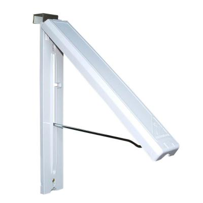 White ABS Plastic Collapsible Wall Mounted Clothes Hanging System with Optional Stainless Steel Over Door Bracket