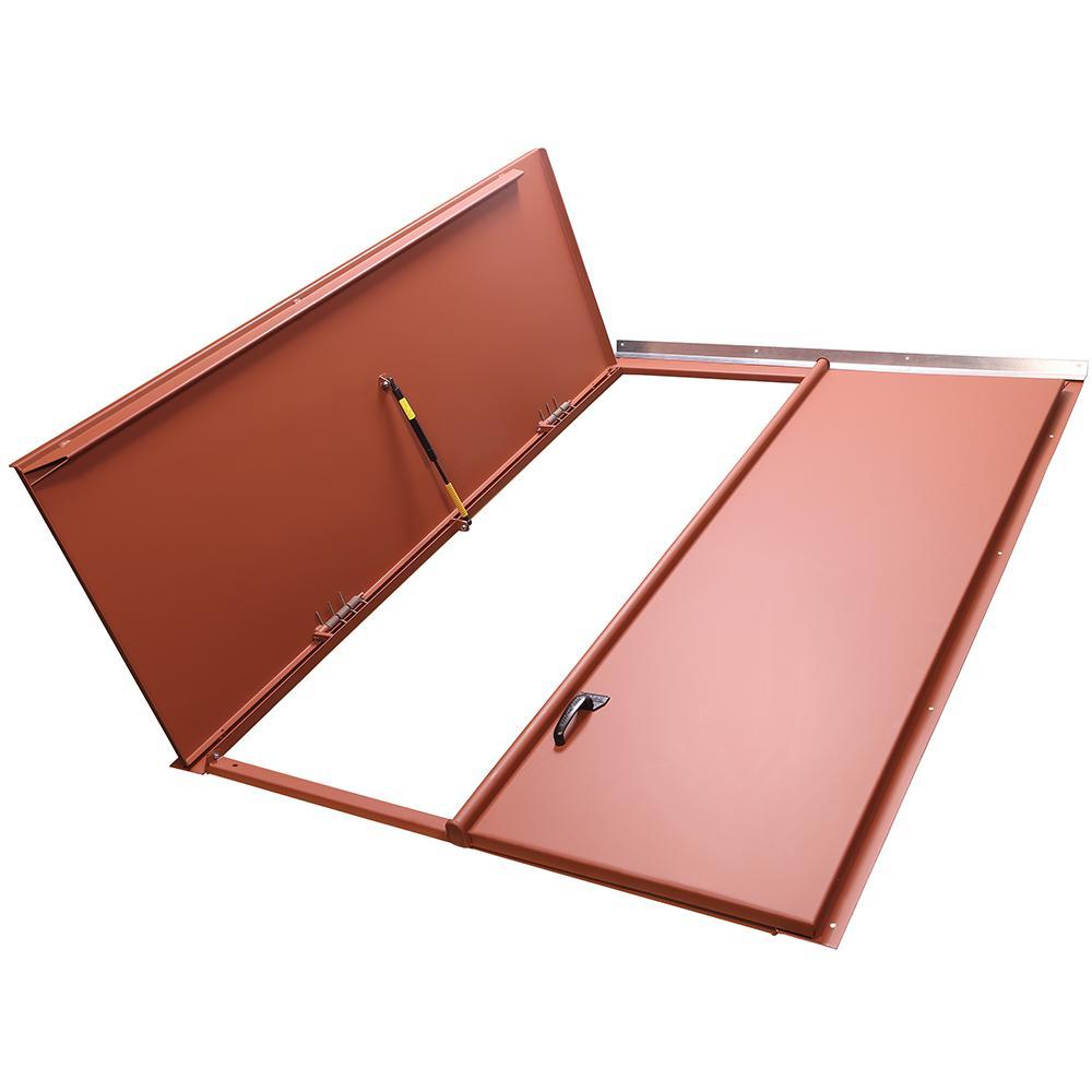Classic 51.25 in. x 74.50 in. Red Matte Primed Steel Replacement Cellar Door