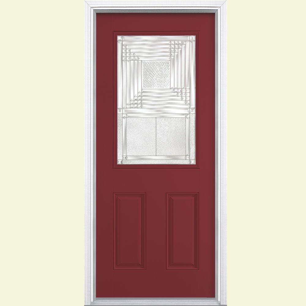Masonite Rochelle Half Lite Painted Smooth Fiberglass Prehung Front Door with Brickmold-DISCONTINUED