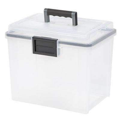 19 Qt. Portable WEATHERTIGHT File Storage Box in Clear 4 Pack
