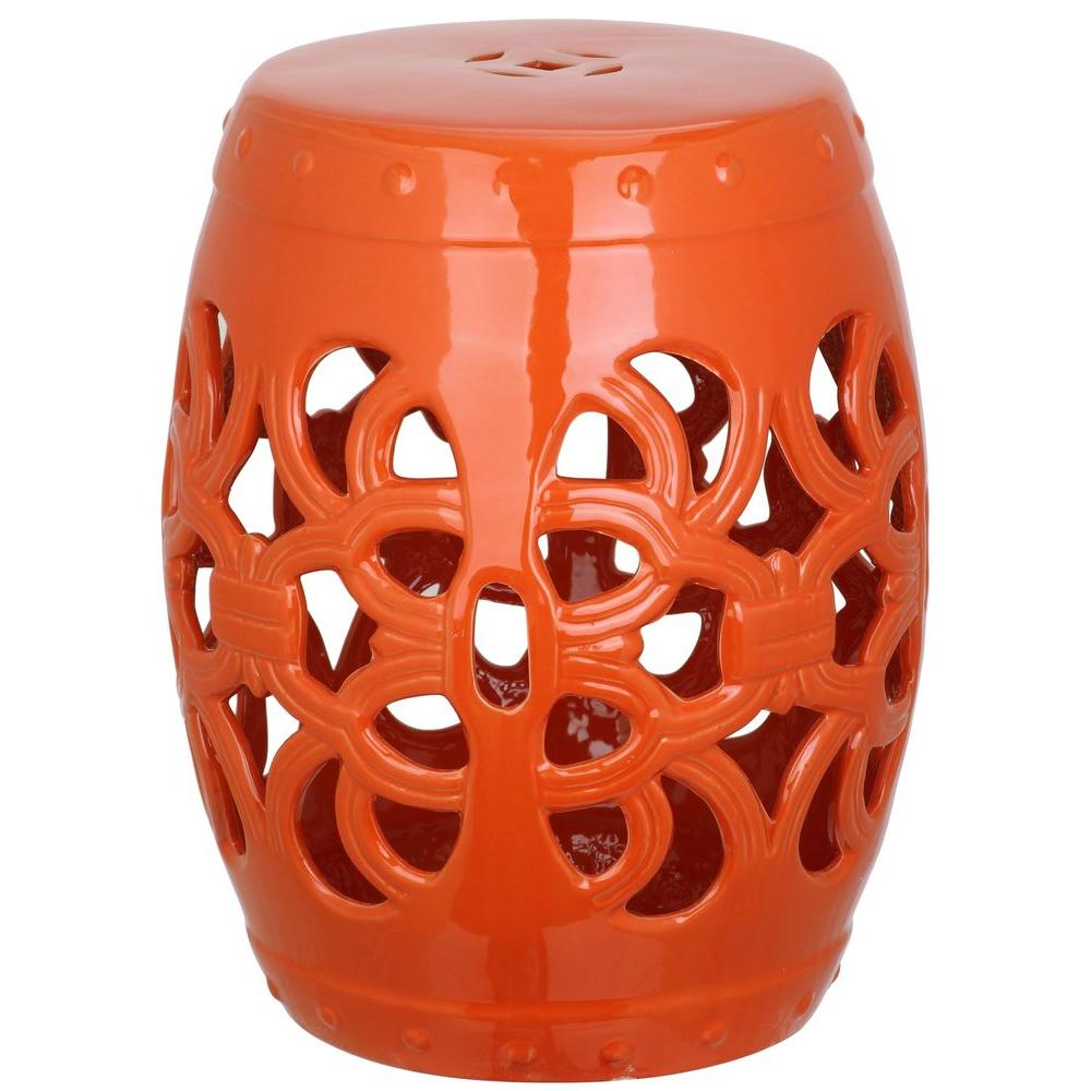 Safavieh Imperial Vine Orange Garden Patio StoolACS4539D The Home