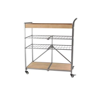 Litton Lane Light Brown 4-Tier Cart with Gray Iron Framing and Wheels
