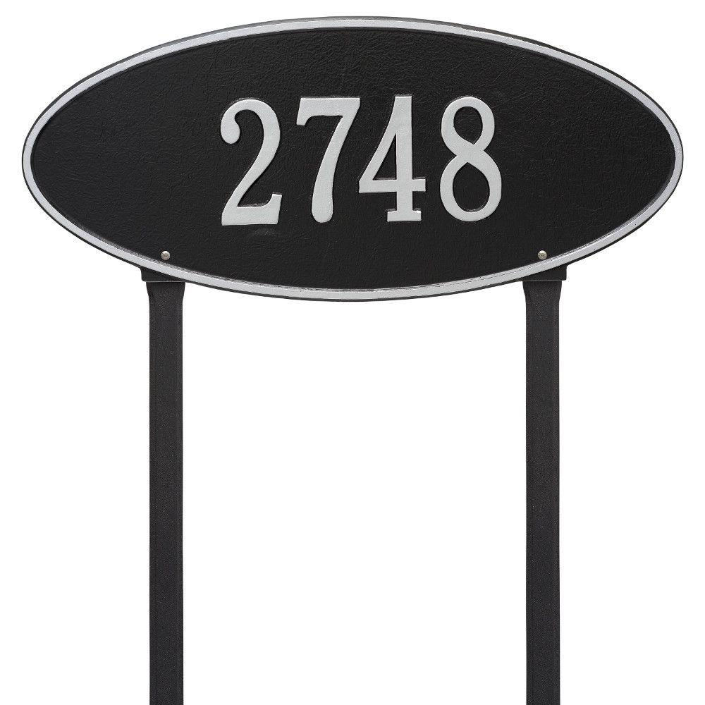 Madison Estate Oval Black/Silver Lawn 1-Line Address Plaque