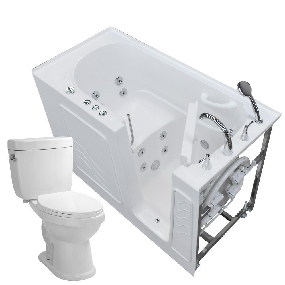 60 in. Walk-In Whirlpool Bathtub in White with 1.6 GPF Single Flush Toilet
