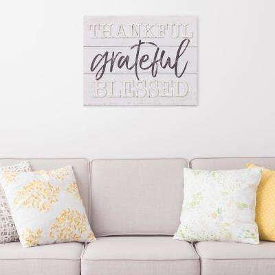 Thankful Grateful Blessed Wood Plank Decorative Sign