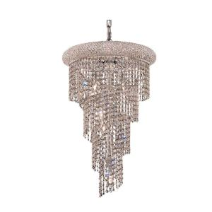 Timeless Home 16 in. L x 16 in. W x 26 in. H 8-Light Chrome with Clear Crystal Contemporary Pendant