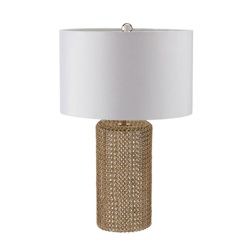 Titan Lighting Chain Mail 24 in. Mercury and Gold Table Lamp