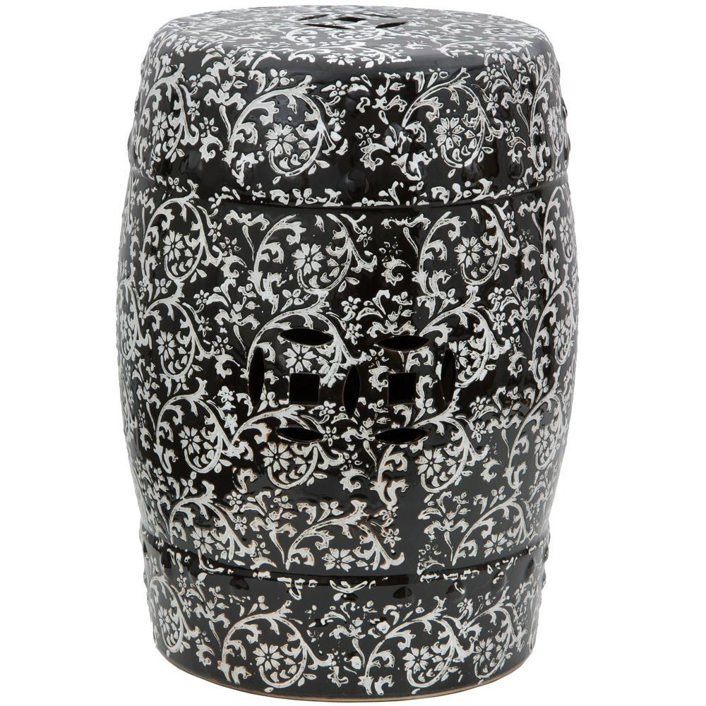Oriental Furniture Black and White Porcelain Ottoman