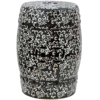 Oriental Furniture Black and White Porcelain Ottoman