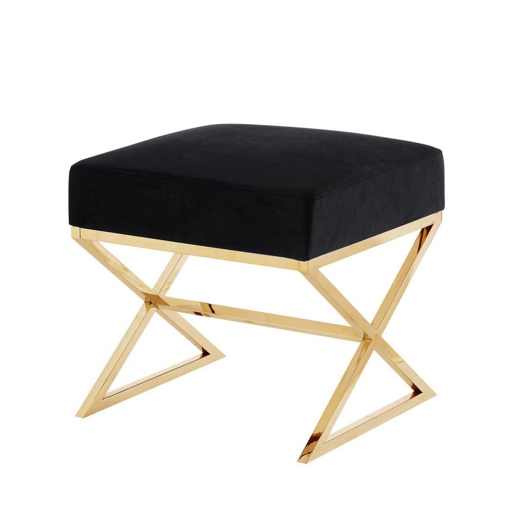 Elora Black/Gold Upholstered X-Leg Velvet Ottoman Upholstered X-Leg