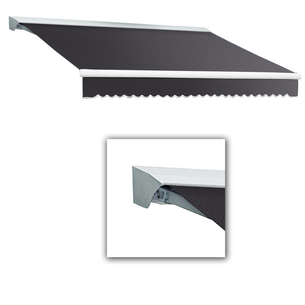AWNTECH 10 ft. Destin-LX Manual Retractable Acrylic Awning with Hood (96 in. Projection) in Gun Metal Grey