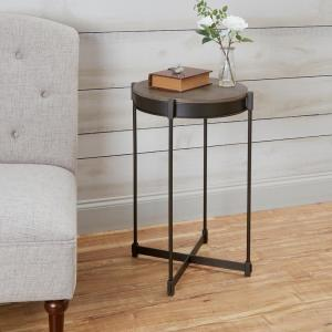 Asher Black And Brown Cross Base End Table