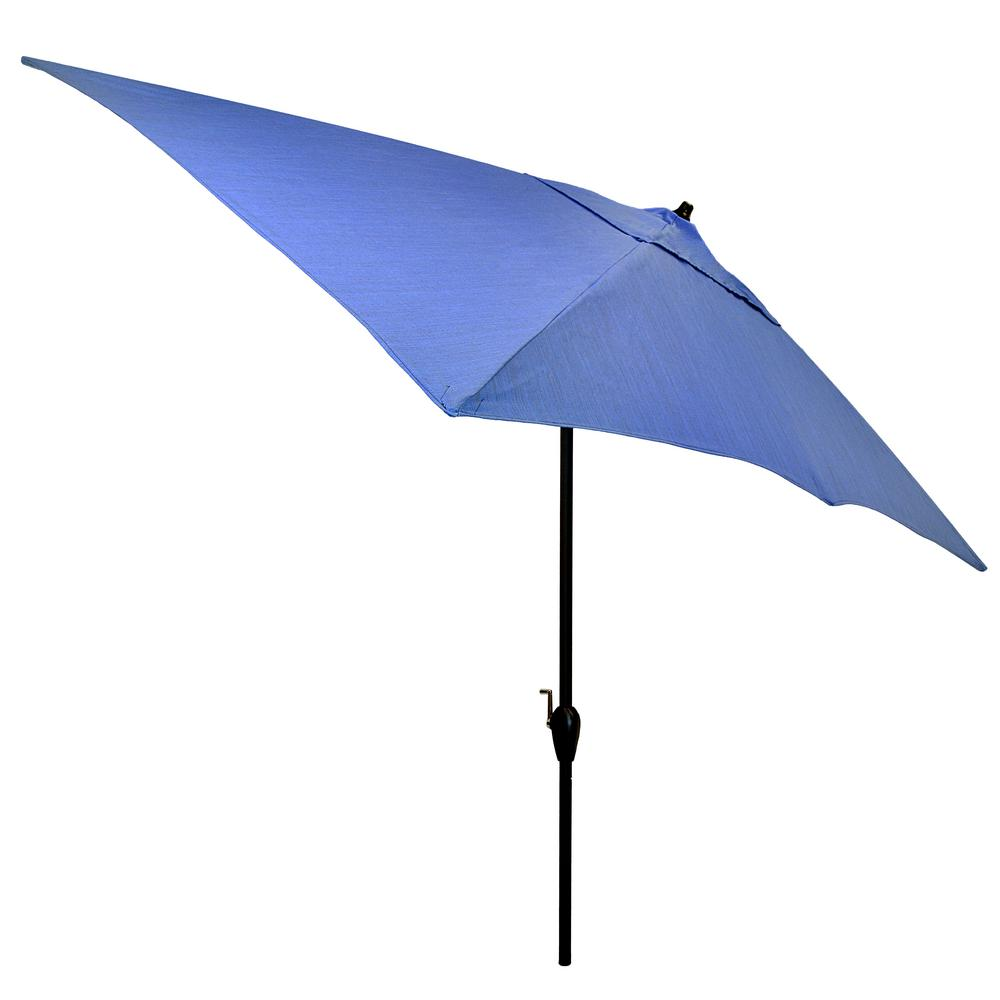 Plantation Patterns Plantation Patterns 10 ft. x 6 ft. Aluminum Patio Umbrella in Periwinkle with Tilt