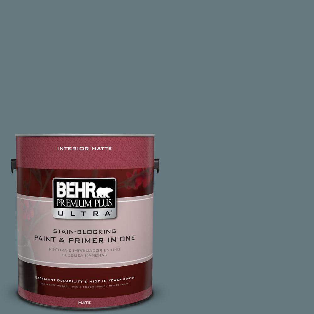 BEHR Premium Plus Ultra 1 gal. #BXC-81 Crater Lake Matte Interior Paint