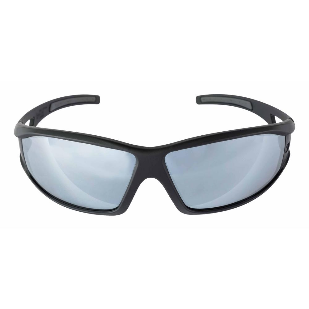 Safety Eyewear Glasses Black Frame with Gray Accent Silver Mirror Anti-Fog