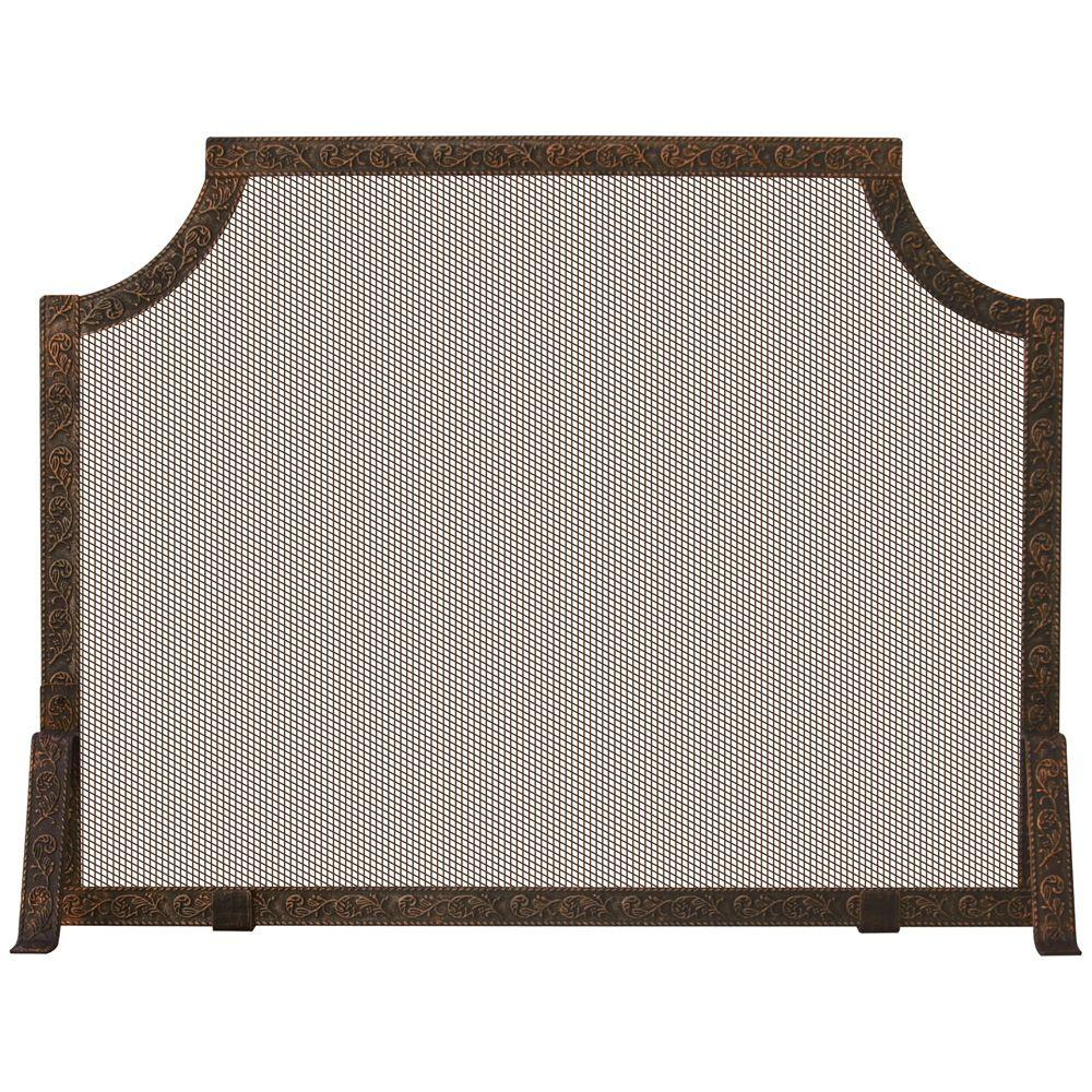 UniFlame Antique Copper Patina Single-Panel Fireplace Screen