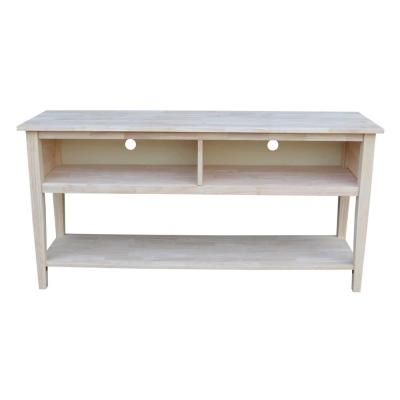 International Concepts 60 in. Unfinished Wood TV Stand Fits TVs Up to 60 in. with Cable Management