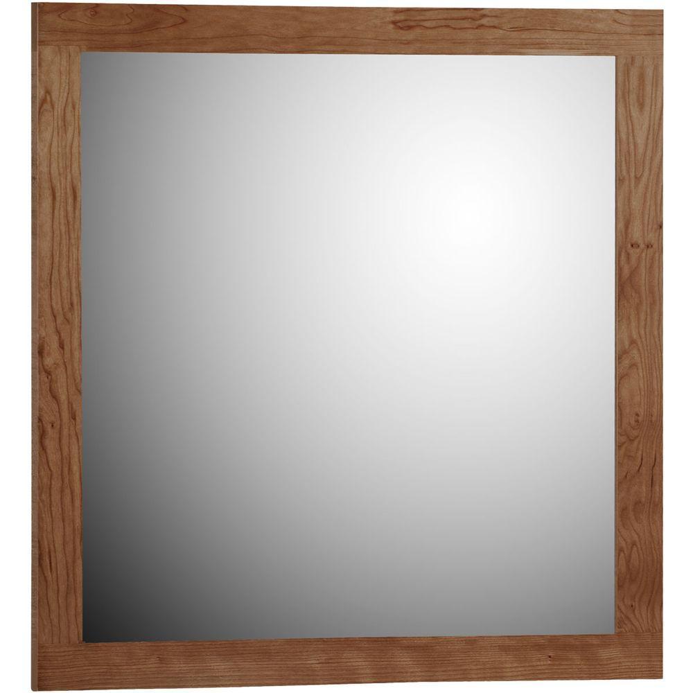 Shaker 30 in. W x .75 in. D x 32 in. H Framed Mirror in Medium Alder