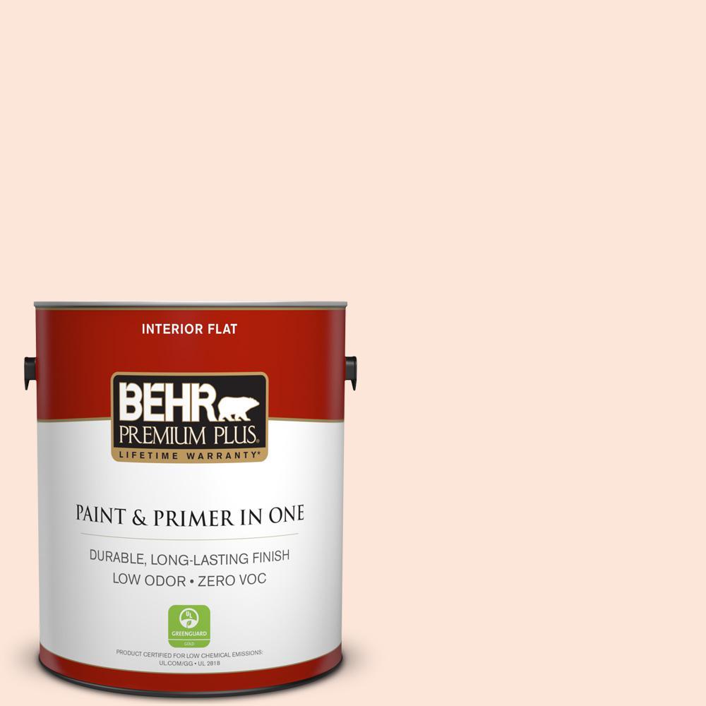 BEHR Premium Plus 1-gal. #230C-1 Winthrop Peach Zero VOC Flat Interior Paint