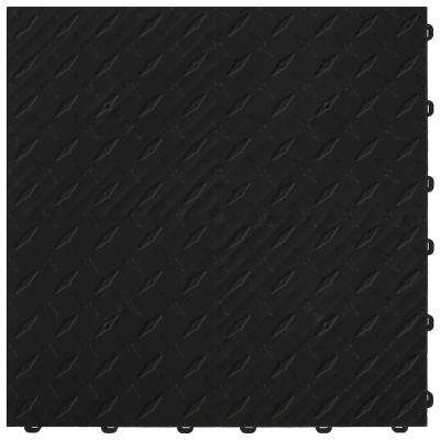 15.75 in. x 15.75 in. Jet Black Diamond Trax 9-Tile Modular Flooring Pack (15.5 sq. ft. / case)