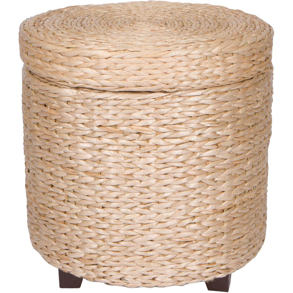 Great Wicker Round Storage Ottoman Footstool Wood And Woven Rush Grass