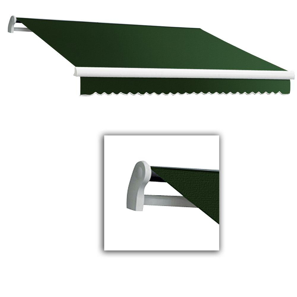AWNTECH 8 ft. Maui-LX Left Motor Retractable Acrylic Awning with Remote (84 in. Projection) in Forest Green