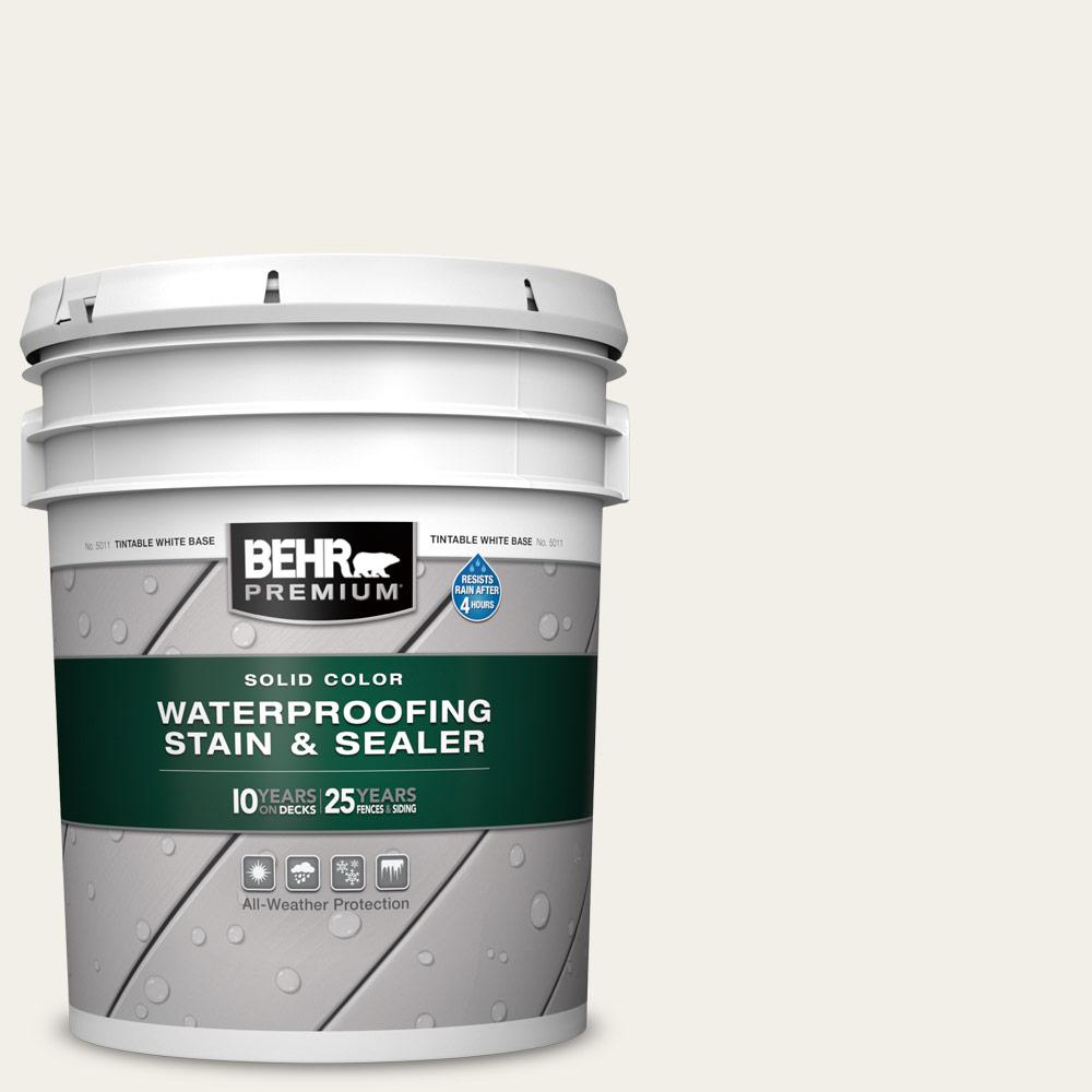 BEHR PREMIUM 5 gal. #SC-337 Pinto White Solid Color Waterproofing Exterior Wood Stain and Sealer