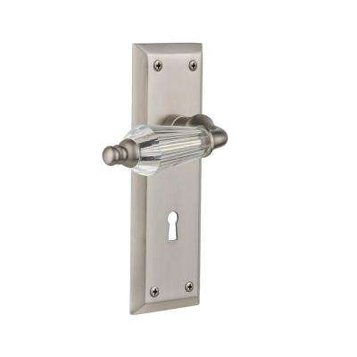 New York Plate with Keyhole 2-3/4 in. Backset Satin Nickel Privacy Bed/Bath Parlor Lever