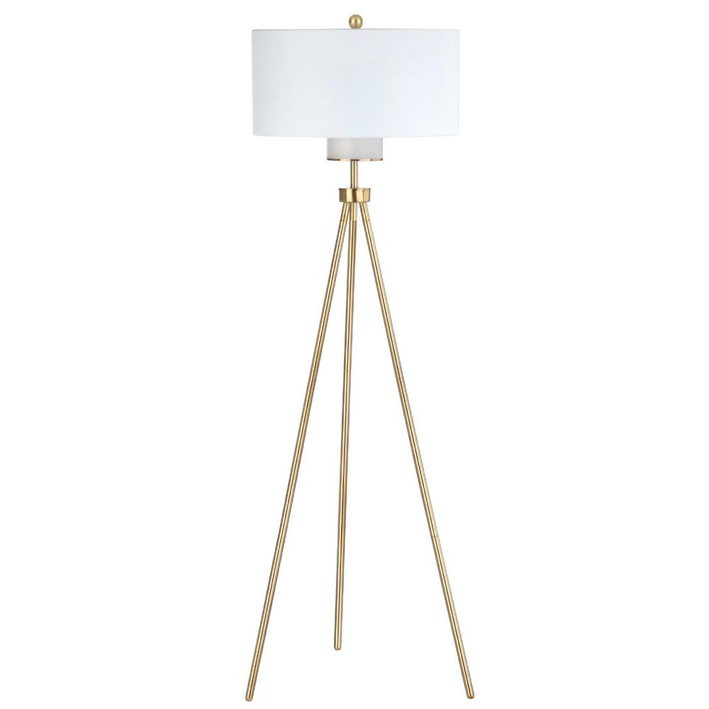 Safavieh Enrica 66 in. Brass/Gold Floor Lamp with Off White Shade