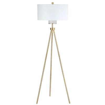 Enrica 66 in. Brass/Gold Floor Lamp with Off White Shade