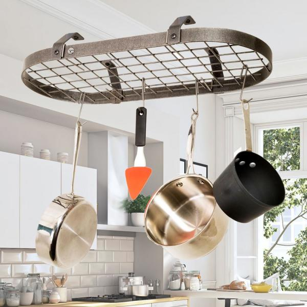 Enclume Handcrafted Low-Ceiling Classic Oval with 12 Hooks Hammered Steel DR4LC