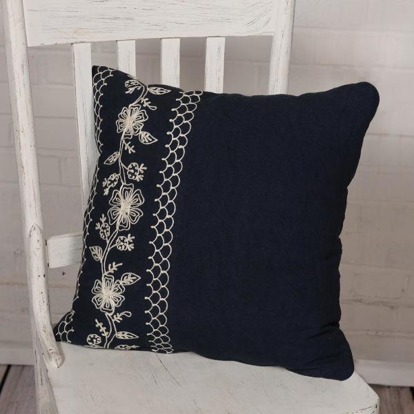 Cambria 18 in. x 18 in. Navy Pillow Cover