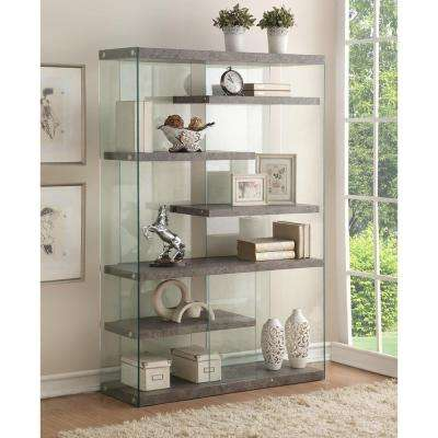 Boyd 6-Shelves Clear Glass Bookcase (1 Set/2 Carton)