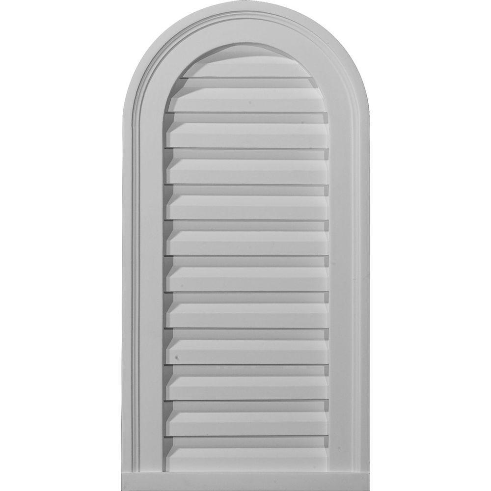 12 W Inch x 36 H Inch Factory Primed White Ekena Millwork GVPVE12X3602SF Vertical Surface Mount PVC Gable Vent
